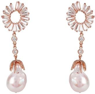 Rosegold Baguette Baroque Pearl Drop Earrings