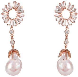 Latelita Baroque Pearl Baguette Drop Earrings Rosegold