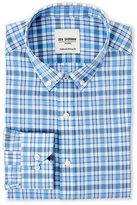 Ben Sherman Light Blue & White Plaid Tailored Slim Fit Dress Shirt