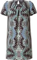 Jade/Black Printed Silk Dress