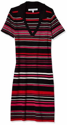 Cupcakes And Cashmere Women's Motley Sweater Stripe Collared Dress