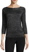 WORTHINGTON Worthington 3/4-Sleeve Cable Knit Sweater - Petite