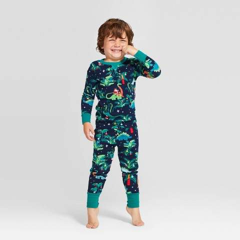 Wondershop Kids' Holiday Dinosaur Print Pajama Set - WondershopTM Navy