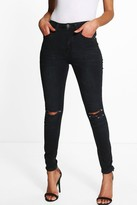 boohoo Petite Lauren High Waisted Skinny Jeans black
