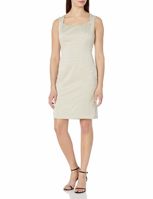 Kasper Women's Cap Sleeve Square Neck Stretch Jacquard Sheath Dress