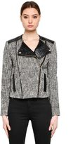 Karl Lagerfeld Boucle Biker Jacket W/ Faux Leather