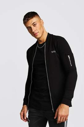 boohoo MAN Muscle Fit Jersey MA1 Bomber Jacket