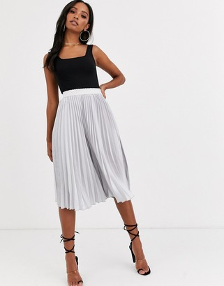 Outrageous Fortune pleated midi skirt with contrast waistband in silver