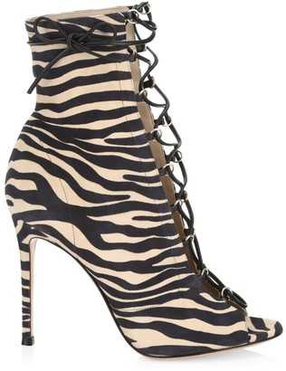 Gianvito Rossi Lenoir Lace-Up Zebra-Stripe Leather Peep-Toe Booties