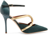 Malone Souliers Veronica leather-trimmed suede and snake pumps