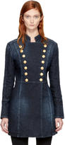 Pierre Balmain Blue Long Denim Coat
