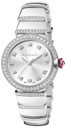 Bvlgari White Gold and Diamond Lvcea Watch 33mm