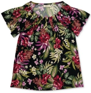 Style&Co. Style & Co Plus Size Floral-Print Pleat-Neck Top, Created for Macy's