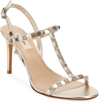 Valentino Rockstud Metallic T-Strap Sandals
