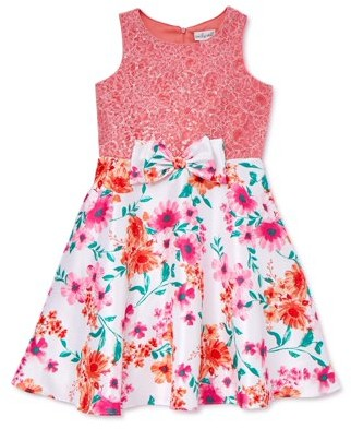 Youngland Girls Easter Dress With Sequin Lace Bodice & Waist Bow, Sizes 4-16