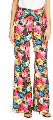 Alice + Olivia Dylan Floral Print High Waist Wide Leg Satin Pants
