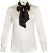 Bella Freud Marlene wingtiop-collar silk-satin shirt