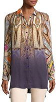 Etro Degrade Paisley Silk Tunic, Peach/Lilac