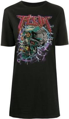 Philipp Plein crystal skull T-shirt dress