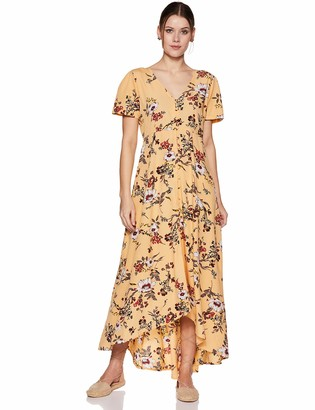 Oasis Wild Beachwear Women's Short Sleeves Floral Printed Maxi Dress with Button Detailing & Slit (X-Small