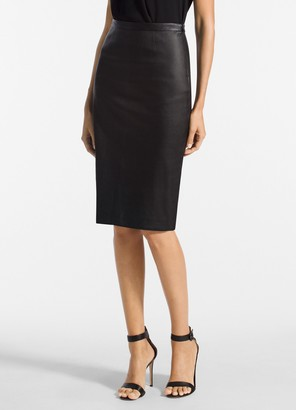 St. John Stretch Nappa Leather Pencil Skirt
