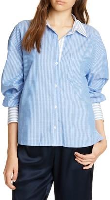 Joie Drusilla Striped Balloon Sleeve Button Front Shirt