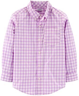Carter's Boys 4-14 Plaid Button-Front Poplin Shirt