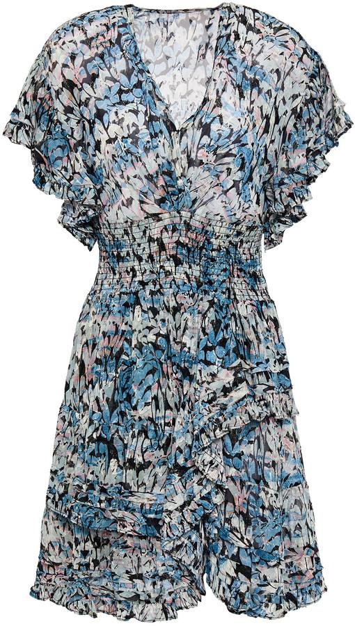 IRO Jenka Ruffled Printed Fil Coupe Chiffon Mini Dress