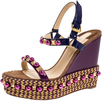 Christian Louboutin Purple Patent Leather Cataconico Embellished Wedge Platform Ankle Strap Sandals Size 38