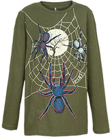 Fat Face Boys' Halloween Spider T-Shirt, Khaki