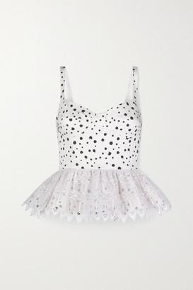 Silvia Tcherassi La Banquera Crochet-trimmed Polka-dot Cotton-blend Peplum Top - White