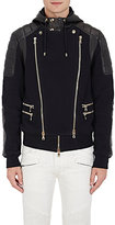 Balmain Men's Leather & French Terry Moto Jacket-BLACK