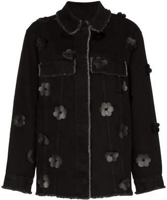 PASKAL clothes floral applique denim jacket