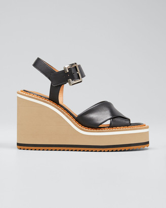 Clergerie Noemie Crisscross Leather Wedge Sandals