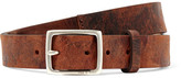 Rag & Bone Boyfriend Distressed Textured-leather Belt - Brown