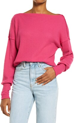 Treasure & Bond Off the Shoulder Thermal Knit Sweater