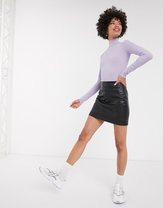 Monki mini leather look skirt in black