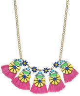 "INC International Concepts I.N.C. Gold-Tone Multicolor Bead Flower & Tassel Statement Necklace, 18"" + 3"" extender, Created for Macy's"