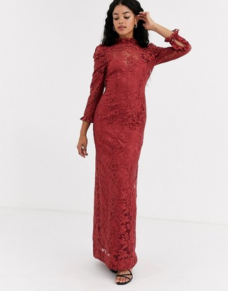 Keepsake high neck lace maxi dress in rust-Red