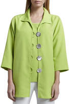 Caroline Rose Shantung Big-Button Shirt, Petite