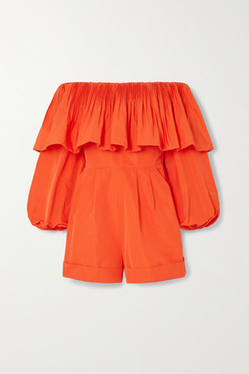 Valentino Off-the-shoulder Ruffled Cotton-blend Poplin Playsuit - Orange