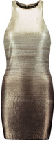 Halston Ombré metallic sequined crepe mini dress