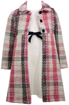 Bonnie Jean Little Girls Boucle Coat Over Textured Knit Dress with Black Velvet Ribbon Trim and Centre Bow Set