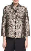 Caroline Rose Mod Metallic Easy Mandarin Jacket, Plus Size