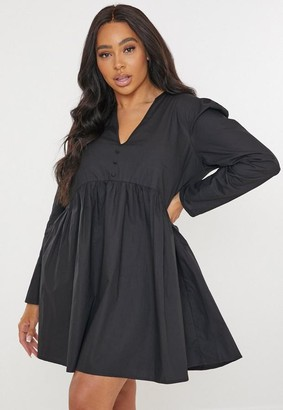 Missguided Plus Size Black Poplin V Neck Mini Dress