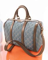 Gucci Vintage Web GG Denim Boston Bag, Denim/Brown