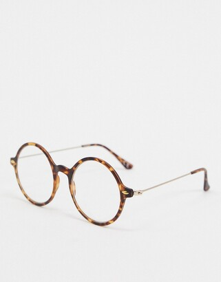 clear Asos Design ASOS DESIGN round fashion glasses in brown tort with lenses
