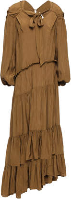 3.1 Phillip Lim Asymmetric Gathered Crinkled-sateen Midi Dress