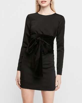 Express X Karla Long Sleeve Velvet Bow Sheath Dress
