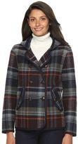 Woolrich Women's Century Hooded Plaid Wool Blend Peacoat